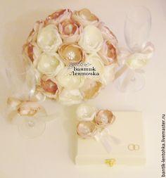 Свадебные цветы ручной работы. Брошь-букет