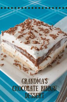 My Grandma's chocolate ribbon dessert is a near no-bake dessert that is also very simple to make.  This tried and true is rich, creamy and chocolatey too! #nobake #dessert #MCO Layered Desserts, Summer Desserts, No Bake Desserts, Pecan Chicken Salads, Chocolate Pudding, Chocolate Desserts, Icebox Desserts, Banana Pudding Recipes, Christmas Deserts