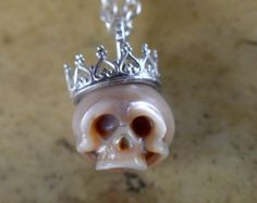 8mm Carved Skull Pearl Wearing Sterling Silver by ArloEdgeWalker