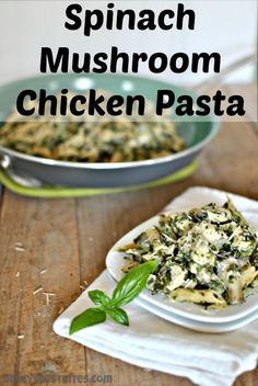Spinach Mushroom Chicken Pasta with fresh lemon, basil and parmesan over whole wheat pasta is a quick, tasty & healthy recipe that just feels very indulgent. #spinach #mushroom #chicken #pasta #dinnertonight beckysbestbites.com