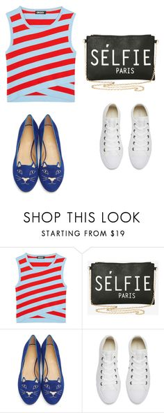 """""""My First Polyvore Outfit"""" by parkmina ❤ liked on Polyvore featuring DKNY, Torrid, Charlotte Olympia and Converse"""
