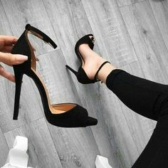 - Simple Peep Toe Pumps with Black Heels - AdoreWe . Black Pumps Heels, Lace Up Heels, Shoes Heels, Black Sandals Outfit, Sexy Heels, Suede Pumps, Women's Pumps, Dream Shoes, Crazy Shoes