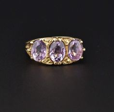 Amethyst three Stone Half Hoop Gold Ring #Amethyst #Stone #9K #Ring #ngagement #wedding #Gold #Natural #Scottish #Gucci