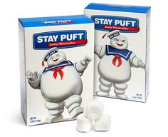Don't eat just any marshmallow. Only trust Stay Puft Quality Marshmallows, the marshmallows with the marshmallow man on the box.  This is a licensed Ghostbusters collectible that you can actually eat. And yes, they are just like the marshmallows Ray loved as a child. That's where all of the trouble started. The Stay Puft Marshmallow man is happy on one side of the box and angry on the other.This awesome treat makes a great gift at just $7.99 from Thinkgeek.