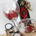 Engine Red Leaf Wine Glass! hand painted by Judi Painted it. The wine glass is painted with aWoodland Fall or Autumn inspired leaf outlined in gold. Free personalization. Great for Fall! $25