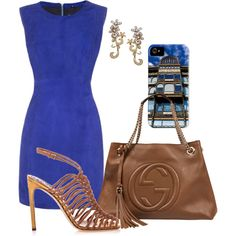 """""""Calm Sophistication in Brown and Blue"""" by sep120 on Polyvore Gucci bag and sandals, blue suede dress, diamond earrings, and an iPhone case featuring a photo of the Old England Building, available here https://www.etsy.com/listing/191925752/old-england-building-iphone-case?ref=listing-shop-header-0"""