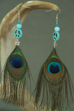 Large Peacock Feathers with Peace Signs by ClarissaAnneDesigns