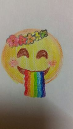 Emoji arc en ciel et fleur
