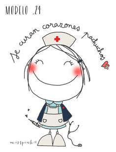 For a nurse. People Illustration, Illustrations, Cute Illustration, Nurse Art, Emotion, Stick Figures, Hand Embroidery Patterns, Cute Images, Easy Drawings