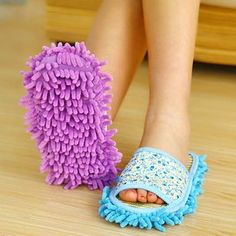 These would be so handy! And time saving :)  Elastic Mopping Cleaning Slippers Floor Polishing Cover Cleaner Dusting Foot Shoes Z242