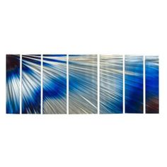 "Abstract by Ash Carl Metal Wall Art in Blue and White - 23.5"" x 60"" by All My Walls. $369.99. Painted Steel. Corrosion Resistant Finish. Hangs in 15 minutes!. Size: 23.5"" T X 66"" W Inches. High Quality Welded and Bolted Construction. SWS00063 Features: -Abstract wall art.-Artist: Ash Carl.-As the light reflects on the sculpture it appears to be live.-Unique visual movement from reflected light.-Hangs in less than 15 minutes.-Easy to clean surface.-Made in USA. Const..."