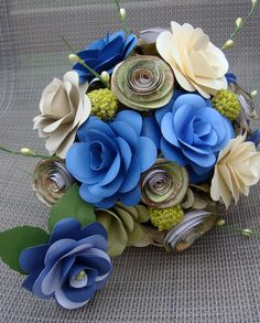 Paper Flower Wedding Bouquet In blues sage and by SweetPeasFlorals