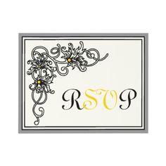 Flourish vine black, grey, yellow wedding RSVP response card