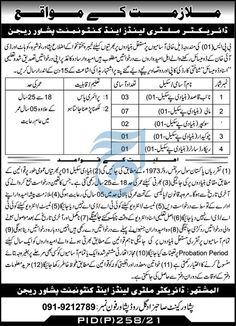 Military land and Cantonment Peshawar Region Jobs 2021