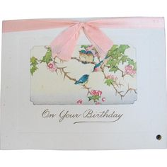 Victorian Birthday Card with Bluebirds - available from Antique Beak on Ruby Lane.