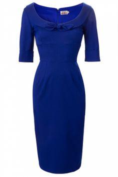 Glamour Bunny - 60s Joan Dress Deep Royal Blue . Die kleur is het helemaal! High on wishlist! #topvintage