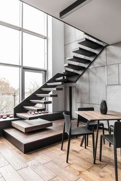 Awesome Stairs Design Home. Now we talk about stairs design ideas for home. In a basic sense, there are stairs to connect the floors Zeitgenössisches Apartment, Apartment Interior, Apartment Design, Apartment Goals, Interior Stairs, Interior Architecture, Room Interior, Staircase Architecture, Home Stairs