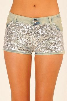 Sparkly denim shorts.