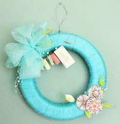 yarn, ribbon, paper wreath