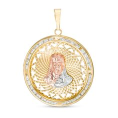Cubic Zirconia Ornate Jesus Medallion Necklace Charm in Tri-Tone Gold Pagoda Jewelry, Jesus Face, Gold Face, Religious Jewelry, Diamond Cuts, Piercing, Rose Gold, Necklace Charm, Faith