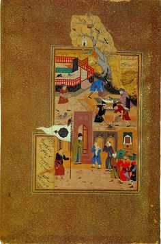 A miniature painting by Bihzad illustrating the funeral of the elderly Attar of Nishapur after he was held captive and killed by a Mongol invader.