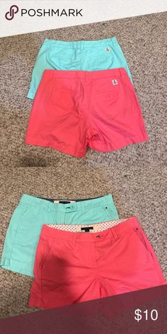Tommy Hilfiger Shorts-two pairs Mint and pink shorts. Worn once and washed. Like new!! Tommy Hilfiger Shorts