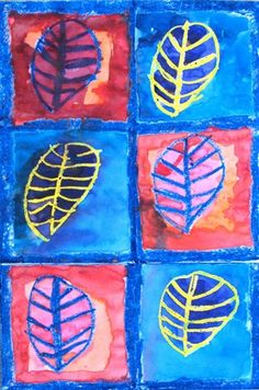 1st grade leaves: Students learned about dark and light, and warm and cool colors while making this work. Oil pastel was used to draw the leaves and then a watercolor wash was applied.