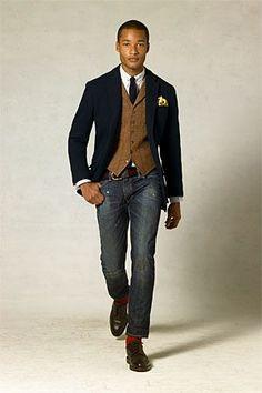 Tweed vest with navy sport coat. Very nice!
