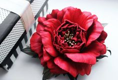 Red rose Leather flowers, red rose corsage, leather gift for her, rose brooch, leather jewelry, leather rose. Valentines Birthday gift. IS by FeltSilkArtGift on Etsy