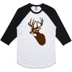 theIndie Deer (Brown) 3/4-Sleeve Raglan Baseball T-Shirt