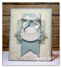 Sylvia Blum: {Sylvias Stamping Place} – Thanks for Thinking of Me - 2/5/13.  (Whimsy Stamps: Simple Everyday Greetings + Lavish Flourishes.  Spellbinders dies: Classic Ovals Sm, A2 Filigree Delight).  (Pin#1: Paper: Banners... Pin+: Thanks)
