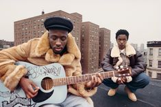 "Wyclef Jean and Lauryn Hill of The Fugees during the shooting of the ""Vocab"" video in New York in the early 1990s. (Photo: Lisa Leone, courtesy Minor Matters Books)"