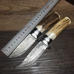 59.98$  Watch now - http://alishg.worldwells.pw/go.php?t=32665447609 - 2016 Outdoor knife pure manual Damascus knife Pattern steel knife gift collection Real horn handle