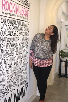 """Aida is wearing the print """"Geo"""" from Ruby Linker, and looking at an art exhibit at Liberty Station, in San Diego."""