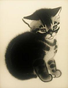 1950s Tabby Kitten, Childrens Cat Print, Clare Turlay Newberry Art (Matted 8 x 10 Illustration). $8.00, via Etsy.