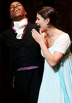 Phillipa Soo and Leslie Odom Jr. during their final curtain call of 'Hamilton' on Broadway at Richard Rodgers Theatre on July 9, 2016.
