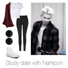 """""""Study date with Namjoon"""" by bts-outfit-imagines on Polyvore featuring Topshop, RE/DONE, Converse and Thomas Sabo"""