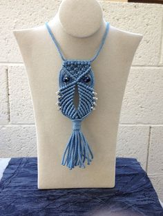 Macrame Owl Necklace blue by magnumrx on Etsy, $14.95