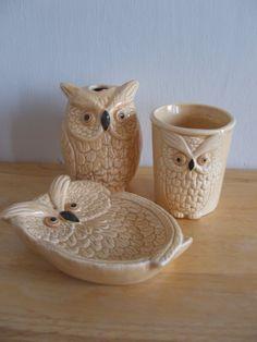 Vintage Owl Bathroom Set