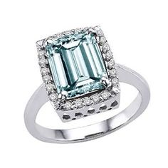3.34 cttw Genuine Large Emerald Cut Aquamarine and Diamond Ring. – 14kt White Gold