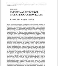 http://charris.ucsd.edu/SchererZentner.pdf ----- EMOTIONAL EFFECTS OF  MUSIC: PRODUCTION RULES