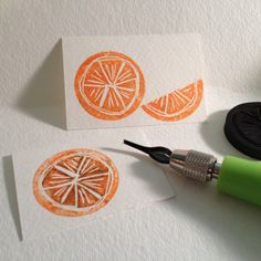 "Hand-carved stamp, proof & print for Day 11 of #30DoC, ""orange"""