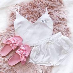 Шелковая пижама ручной работы с кружевом. Пижама из атласа Атласный комплект для сна с кружевом Топ и шорты