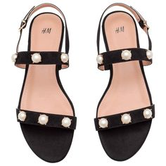 Very Cute Summer Shoes. These Shoes Will Look Good With Any Outfit. - New Shoes Styles & Design Beaded Shoes, Beaded Sandals, Embellished Sandals, Strap Sandals, Black Sandals, Black Shoes, Espadrilles, H&m Shoes, Decorated Shoes