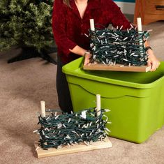 Take the hassle out of storing your holiday lights and other Christmas decorations with these simple, inexpensive tips. Storage Tubs, Storage Hacks, Craft Storage, Storage Ideas, Led Christmas Lights, Holiday Lights, Christmas Decorations, Holiday Decor, Simple Workbench Plans