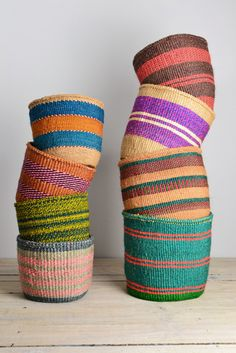 colorful baskets from artisan weavers Objet Deco Design, African Interior, Sacs Design, Thinking Day, Wicker Baskets, Woven Baskets, Painted Baskets, Picnic Baskets, Basket Planters