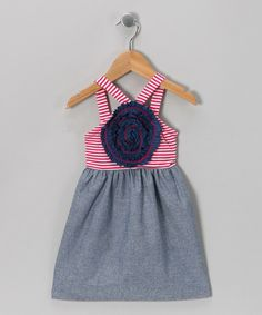 Red Stripe & Chambray Blooming Rose Dress - Girls by Freckles + Kitty #zulily #zulilyfinds