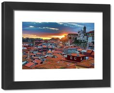 inch mm) wooden frame with digital mat and print (other products available) - Sunset over the rooftops of the City of Porto, Portugal - Image supplied by Prints Prints Prints - Framed Print made in the USA Poster Prints, Framed Prints, Canvas Prints, Photo Mugs, Photo Gifts, Rooftops, Fine Art Prints, Portugal, Around The Worlds
