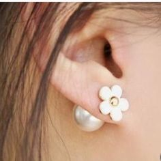 Dual sided white flower/globe earring. White flower/globe earring. Double sided. New without tags. Boutique Jewelry Earrings