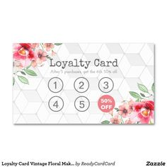 Loyalty Card Vintage Floral Makeup & Hair Stylist Business Card
